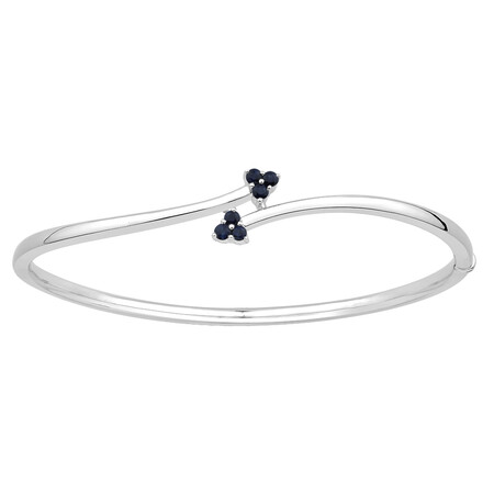 Bangle with Created Sapphire in Sterling Silver