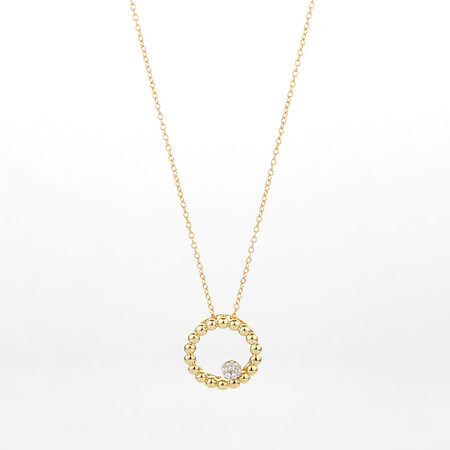 Online Exclusive - Circle Pendant with Diamonds in 10kt Yellow Gold