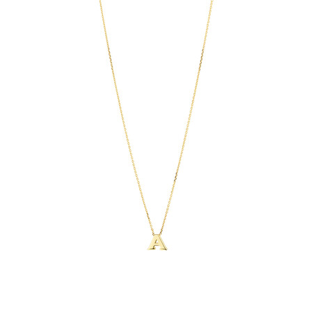 """""""A"""" Initial Neckalce in 10kt Yellow Gold"""