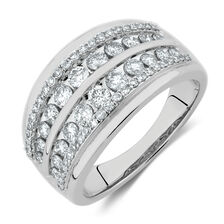 Four Row Ring with 1 Carat TW of Diamonds in 10kt White Gold