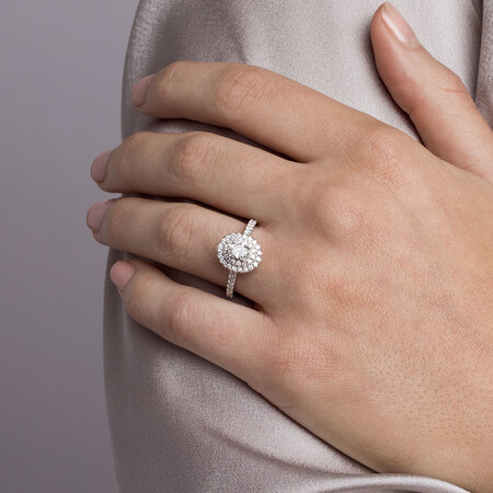 Sir Michael Hill Designer Engagement Ring with 1 1/5 Carat TW of Diamonds in 14kt White & Rose Gold