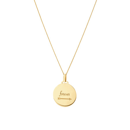 Disc Engraved Pendant in 10kt Yellow Gold