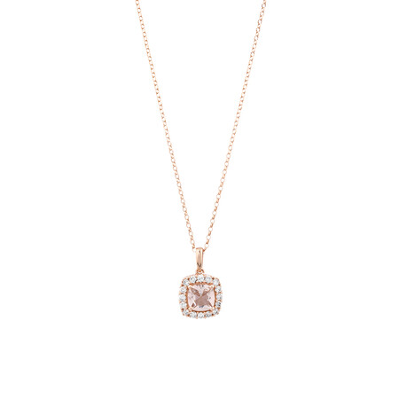 Halo Pendant With Morganite & 0.25 Carat TW of Diamonds In 10kt Rose Gold