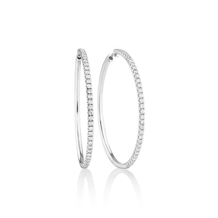 Pave Hoop Earrings with 1.00 Carat TW Diamonds in 10kt White Gold