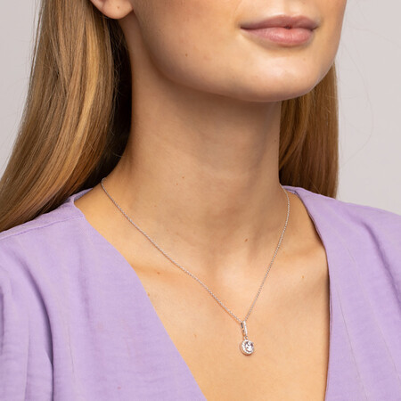 Halo Pendant with Cubic Zirconia in Sterling Silver