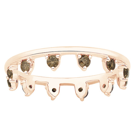 Zipper Ring with 0.41 Carat TW of Champagne Diamonds in 10kt Rose Gold