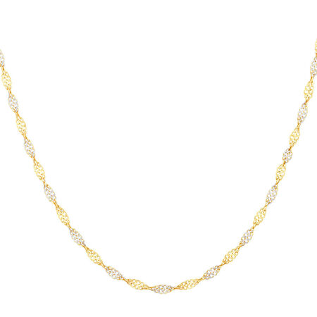 "45cm (18"") Singapore Chain in 10kt Yellow & White Gold"