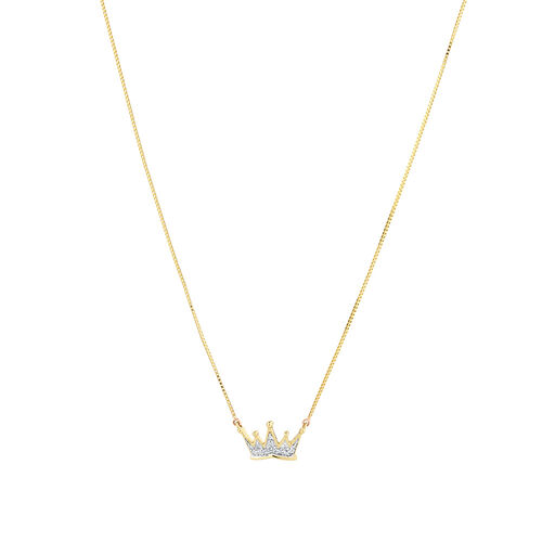 Crown Necklace with Diamonds in 10kt Yellow Gold