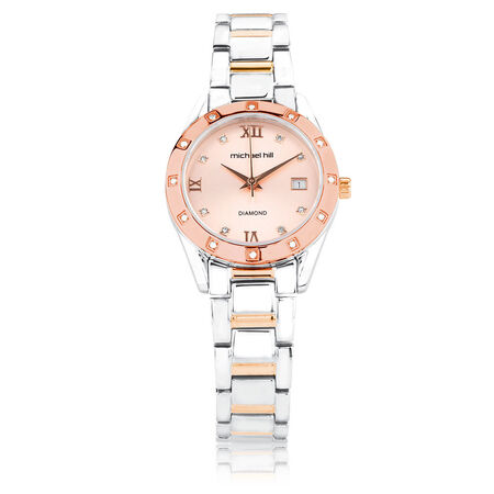Ladies Watch with Diamonds in Rose & Silver Tone Stainless Steel