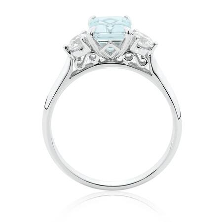 Ring with Aquamarine & 0.40 Carat TW of Diamondsin 10kt White Gold