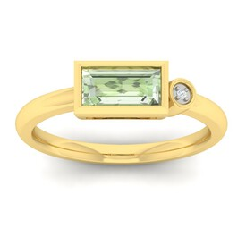 Ring with Green Amethyst & Diamond in 10kt Yellow Gold