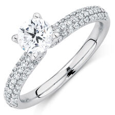 Evermore Colourless Engagement Ring with 1.14 Carat TW of Diamonds in 14kt White Gold