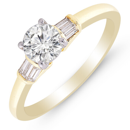 Ring with 0.86 Carat TW of Diamonds in 10kt Yellow & White Gold