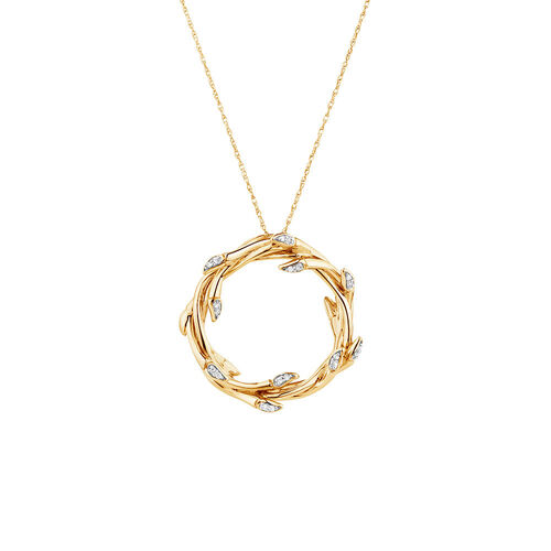 Medium Willow Pendant with Diamonds in 10kt Yellow Gold