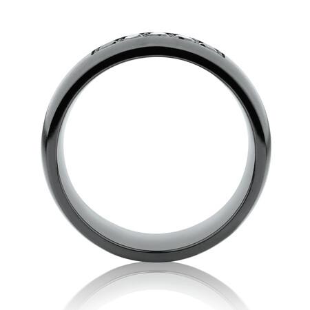 8mm Ring with Black Diamonds in Black Titanium