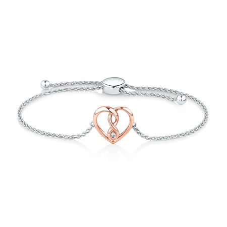 Infinitas Bracelet with Diamonds in Sterling Silver & 10kt Rose Gold