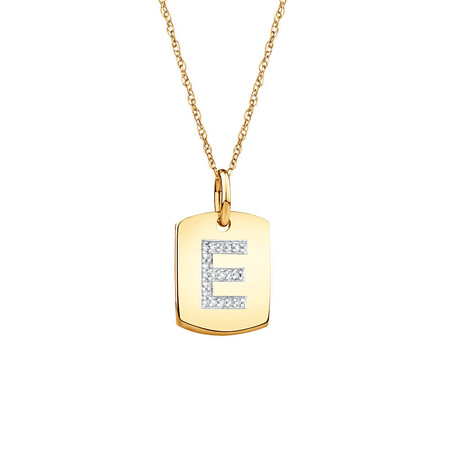"""""""E"""" Initial Rectangular Pendant With Diamonds In 10ct Yellow Gold"""