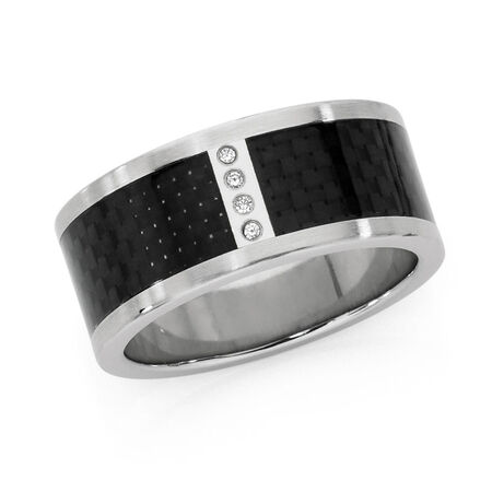 Men's Ring with Cubic Zirconias in Black Carbon Fibre & Stainless Steel