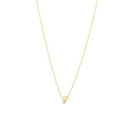 """""""F"""" Initial Necklace in 10kt Yellow Gold"""