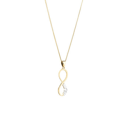 Mum Pendant in 10kt Yellow & White Gold