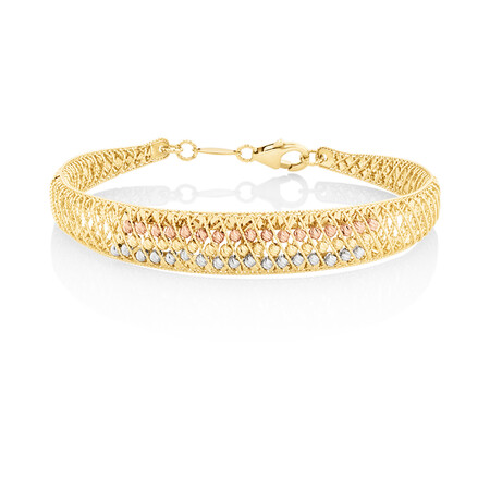 Lattice Bangle in 18kt Yellow, Rose & White Gold