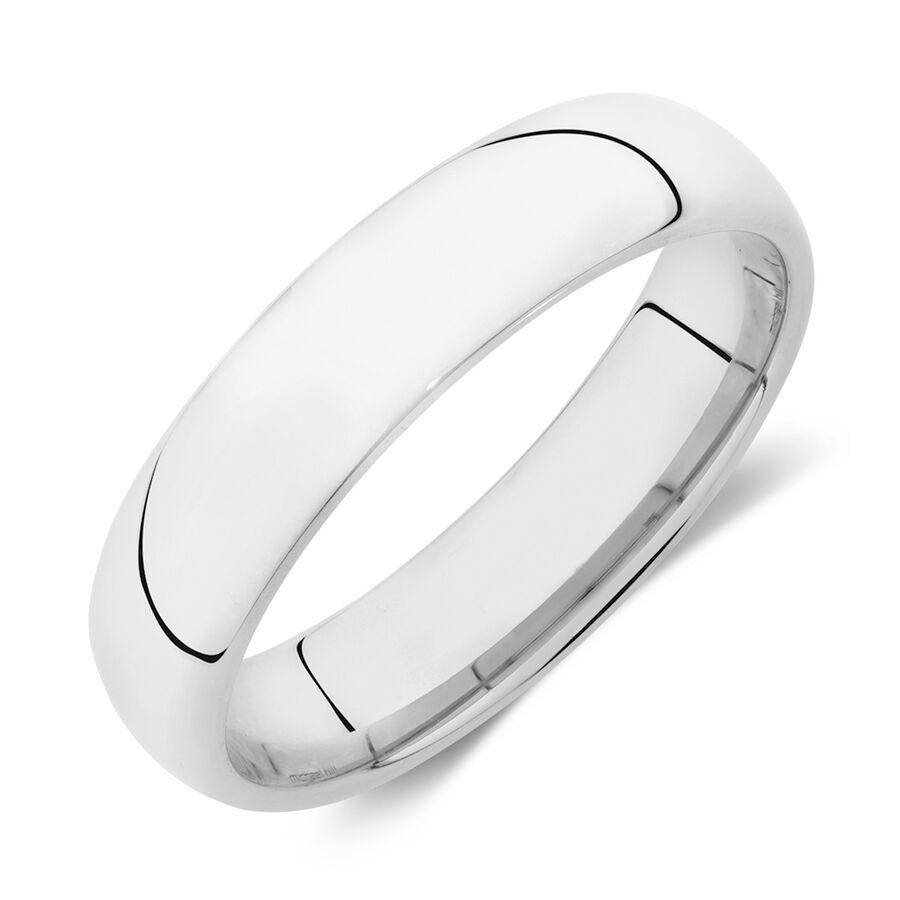 Lite Half Round Wedding Band in 10kt White Gold