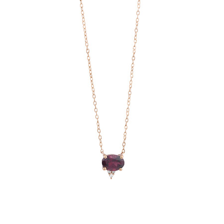 Necklace With Diamonds And Rhodolite Garnet In 10kt Rose Gold
