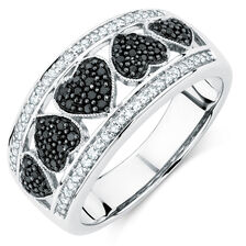 City Lights Ring with 0.33 Carat TW of White &  Enhanced Black Diamonds in Sterling Silver