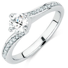 Evermore Colourless Engagement Ring with 0.60 Carat TW of Diamonds in 14kt White Gold