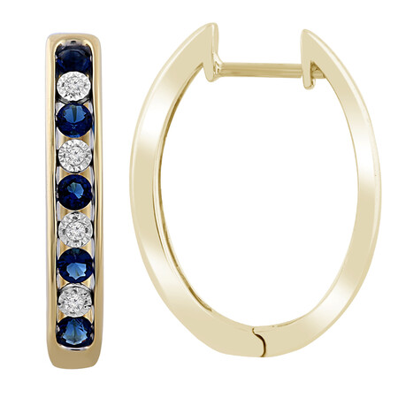Huggie Earrings with Created Sapphire & Diamond in 10kt Yellow Gold