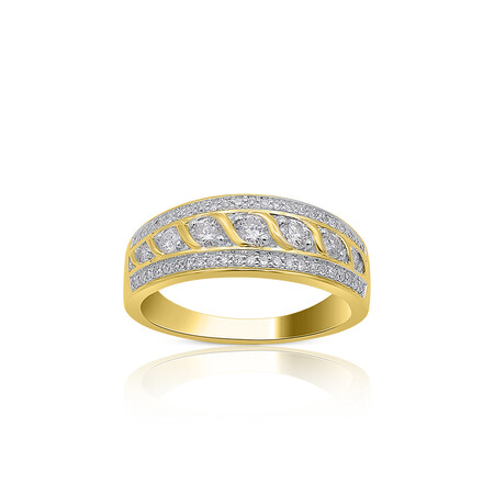 Twist Three Row Ring with 0.50 Carat TW of Diamonds in 10kt Yellow Gold