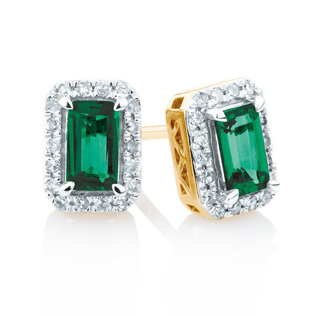 Stud Earrings with Created Emerald and 0.15 Carat TW of Diamonds in 10kt Yellow Gold