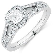 Sir Michael Hill Designer GrandAmoroso Engagement Ring with 0.95 Carat TW of Diamonds in 14kt White Gold