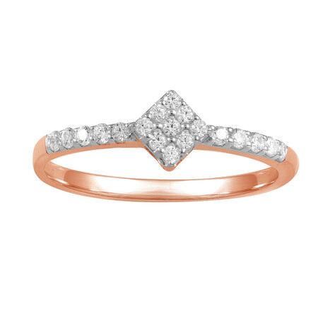 Cluster Ring with 0.15 Carat TW of Diamonds in 10kt Rose Gold