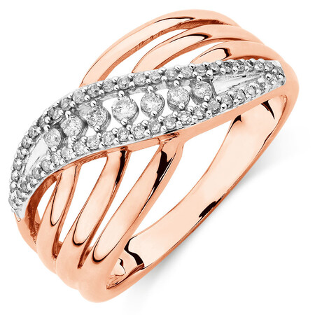 Ring with 1/4 Carat of Diamonds in 10kt Rose Gold