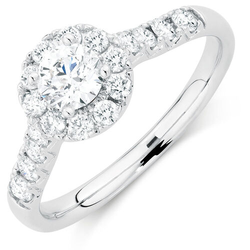 Ideal Cut Engagement Ring with 0.95 Carat TW of Diamonds in 14kt White Gold