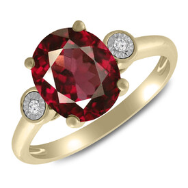 Ring with Rhodalite Garnet & Diamond in 10kt Yellow Gold