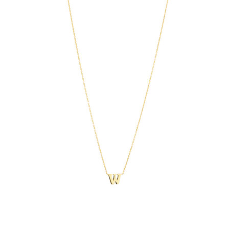 """W"" Initial Necklace in 10kt Yellow Gold"