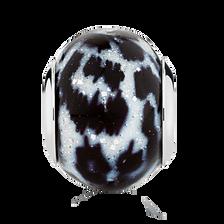 Black & White Animal Print Murano Glass Charm