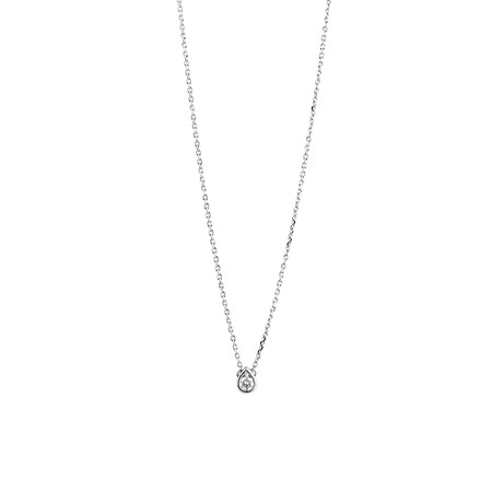 Pear Pendant with Diamonds in Sterling Silver