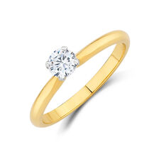 Certified Solitaire Engagement Ring with a 0.34 Carat TW Diamond in 14ct Yellow & White Gold