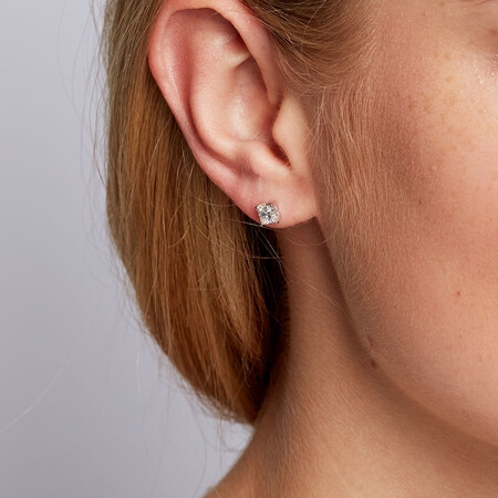 Certified Stud Earrings with 0.96 Carat TW of Diamonds in 14kt White Gold