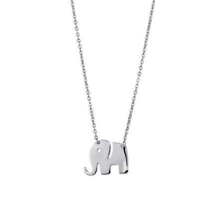 Mini Elephant Necklace in 10kt White Gold