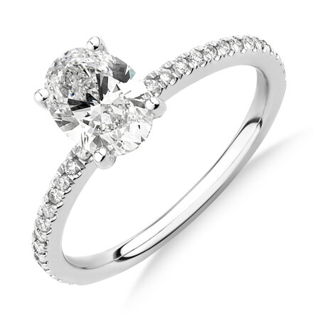 Laboratory-Created 1.14 Carat TW of Diamond Oval Ring In 14kt White Gold