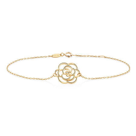 "19cm (7.5"") Rose Bracelet in 10kt Yellow Gold"