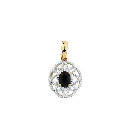 Pendant with Sapphire & 1/2 Carat TW of Diamonds in 10kt Yellow & White Gold