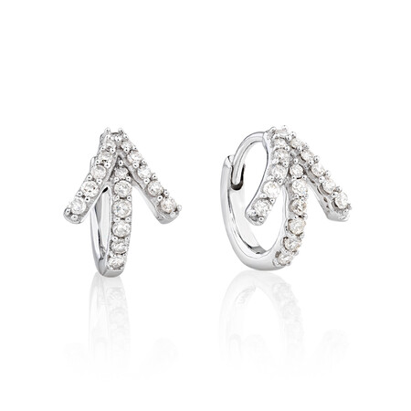Mini Hoop Earrings with 0.20 Carat TW of Diamonds in 10kt White Gold