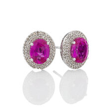 Halo Earrings with Created Pink Sapphire & 0.39 Carat TW of Diamonds in 10kt White Gold