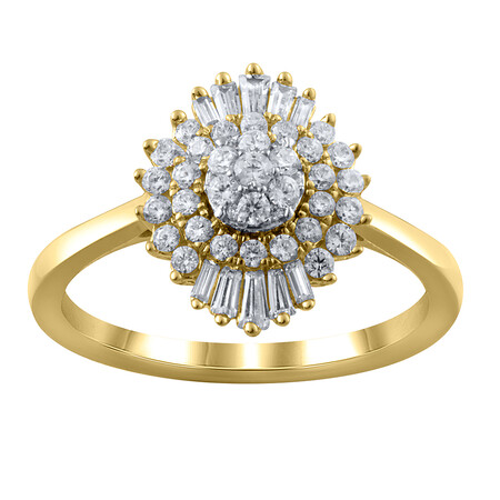 Cluster Ring with 0.62 Carat TW of Diamonds in 10kt Yellow Gold