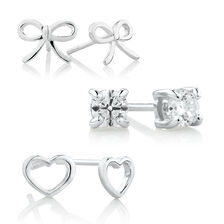 Stud Earrings Gift Set with Cubic Zirconia in Sterling Silver